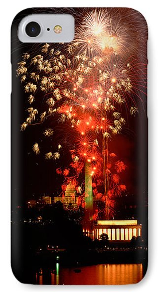 Capitol Building iPhone 7 Case - Usa, Washington Dc, Fireworks by Panoramic Images