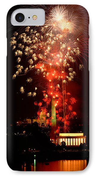Usa, Washington Dc, Fireworks IPhone Case by Panoramic Images