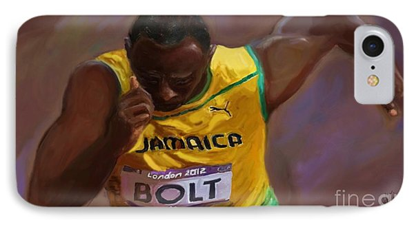 Usain Bolt 2012 Olympics IPhone Case by Vannetta Ferguson