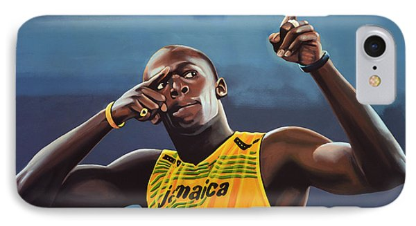 The iPhone 7 Case - Usain Bolt Painting by Paul Meijering