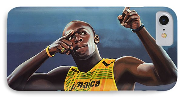 Usain Bolt Painting IPhone 7 Case by Paul Meijering