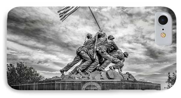 Usmc Iwo Jima Memorial Bw IPhone Case by Susan Candelario