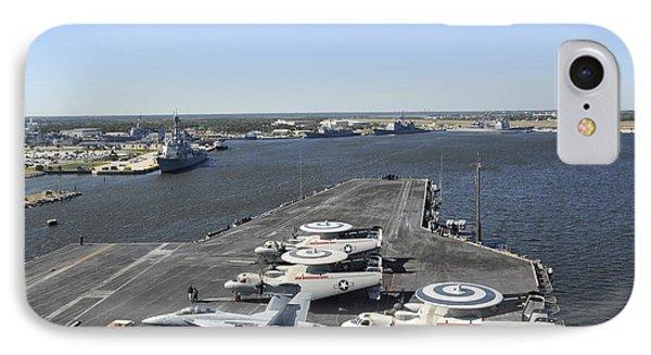Uss Enterprise Arrives At Naval Station Phone Case by Stocktrek Images
