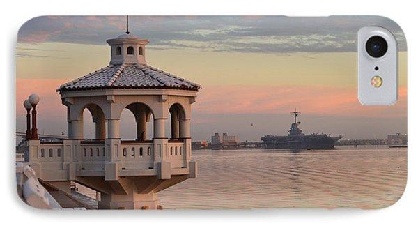 Uss Lexington At Sunrise IPhone Case by Leticia Latocki