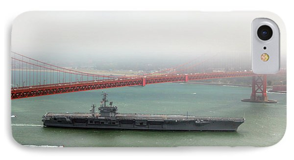 Uss Nimitz Cvn-68 Golden Gate Bridge IPhone Case by Wernher Krutein
