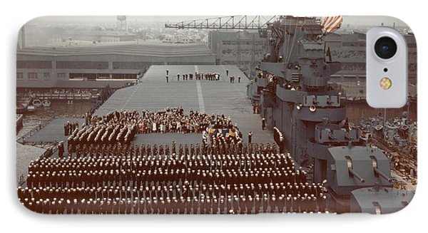 Uss Yorktown Crew Stands At Attention IPhone Case