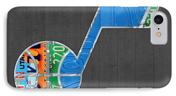 Utah Jazz Basketball Team Retro Logo Vintage Recycled License Plate Art IPhone Case