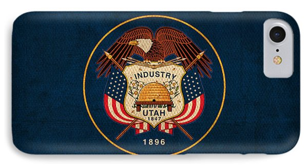 Utah State Flag Art On Worn Canvas Phone Case by Design Turnpike