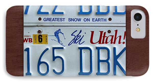 Utah State License Plate Map IPhone Case by Design Turnpike