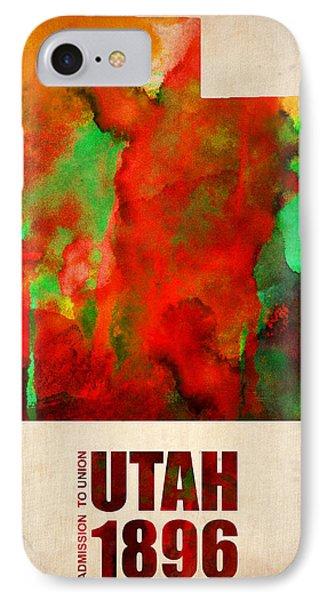 Utah Watercolor Map Phone Case by Naxart Studio