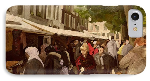 IPhone Case featuring the painting Utrecht - The Saturday's Fabrics Market by Nop Briex