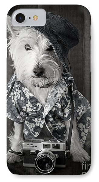 Vacation Dog With Camera And Hawaiian Shirt IPhone Case by Edward Fielding