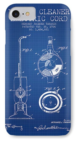 Vacuum Cleaner Electric Cord Patent From 1924 - Blueprint IPhone Case by Aged Pixel