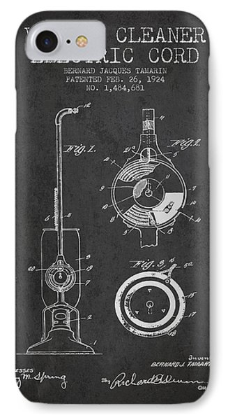 Vacuum Cleaner Electric Cord Patent From 1924 - Charcoal IPhone Case by Aged Pixel