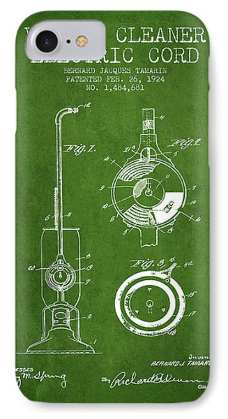 Vacuum Cleaner Electric Cord Patent From 1924 - Green IPhone Case by Aged Pixel
