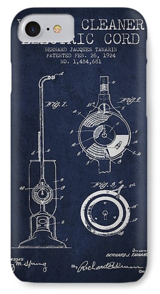 Vacuum Cleaner Electric Cord Patent From 1924 - Navy Blue IPhone Case by Aged Pixel