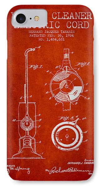 Vacuum Cleaner Electric Cord Patent From 1924 - Red IPhone Case by Aged Pixel