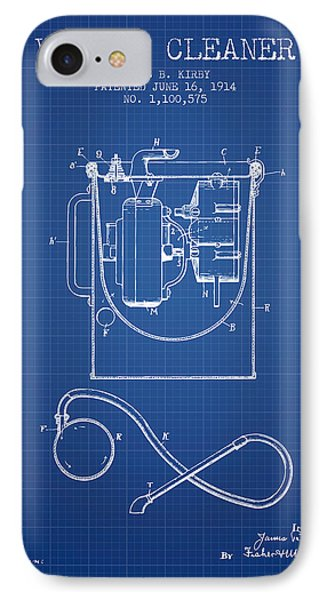 Vacuum Cleaner Patent From 1914 - Blueprint IPhone Case by Aged Pixel