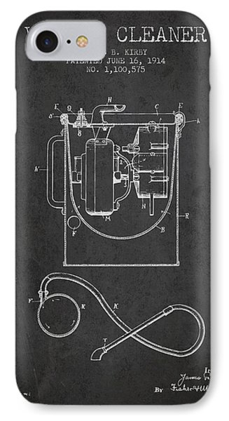 Vacuum Cleaner Patent From 1914 - Charcoal IPhone Case by Aged Pixel