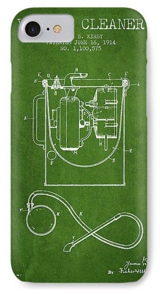 Vacuum Cleaner Patent From 1914 - Green IPhone Case by Aged Pixel