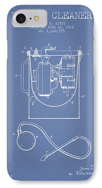 Vacuum Cleaner Patent From 1914 - Light Blue IPhone Case by Aged Pixel