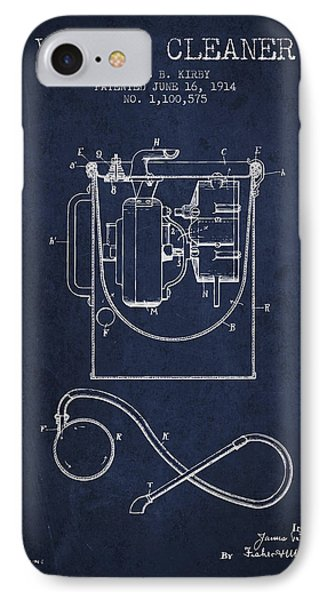 Vacuum Cleaner Patent From 1914 - Navy Blue IPhone Case by Aged Pixel