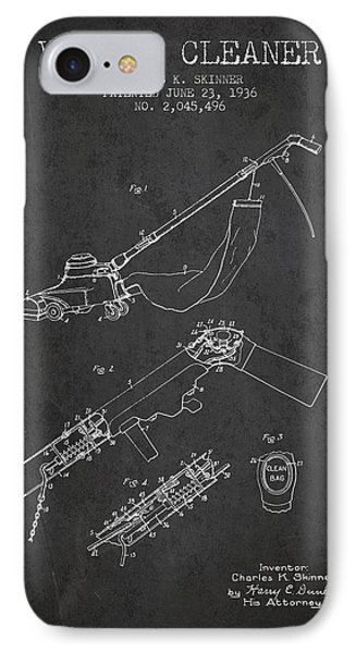 Vacuum Cleaner Patent From 1936 - Dark IPhone Case by Aged Pixel