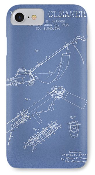 Vacuum Cleaner Patent From 1936 - Light Blue IPhone Case by Aged Pixel