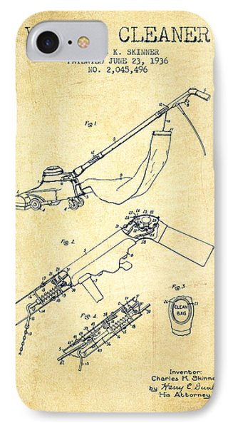 Vacuum Cleaner Patent From 1936 - Vintage IPhone Case by Aged Pixel