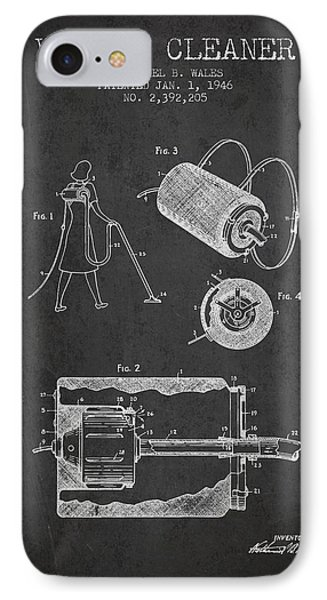 Vacuum Cleaner Patent From 1946 - Charcoal IPhone Case by Aged Pixel