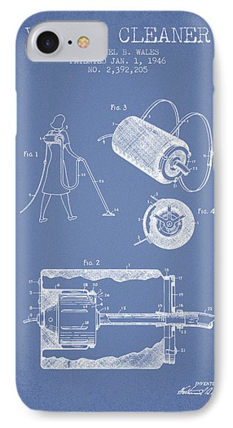 Vacuum Cleaner Patent From 1946 - Light Blue IPhone Case by Aged Pixel