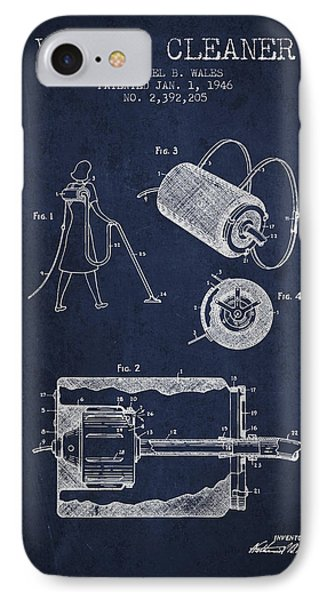 Vacuum Cleaner Patent From 1946 - Navy Blue IPhone Case by Aged Pixel