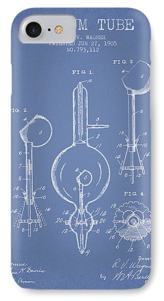 Vacuum Tube Patent From 1905 - Light Blue IPhone Case