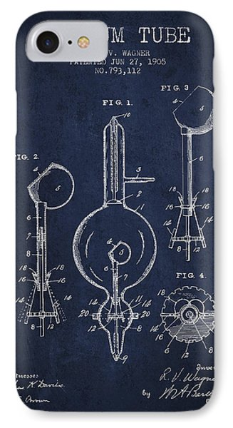 Vacuum Tube Patent From 1905 - Navy Blue IPhone Case