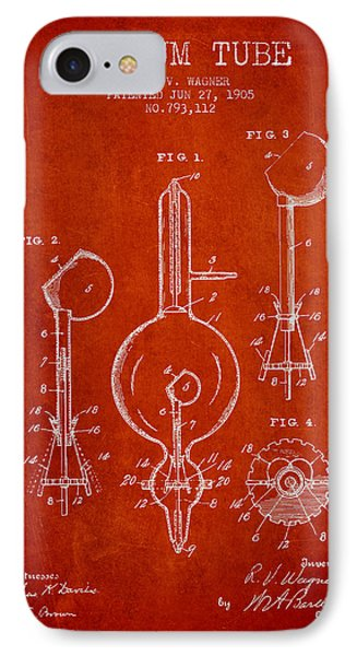Vacuum Tube Patent From 1905 - Red IPhone Case