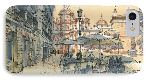 Valencia. View Of The Cathedral IPhone Case by Olga Sorokina