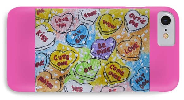 Valentine Candy Hearts Phone Case by Kathy Marrs Chandler