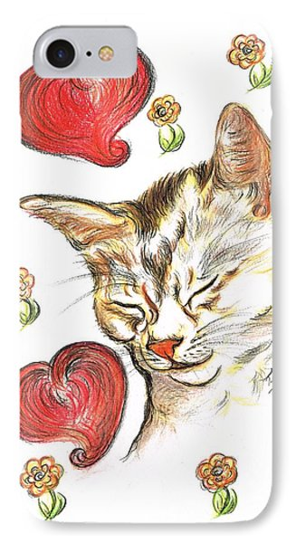 Valentine Cat IPhone Case by Teresa White