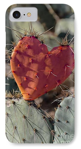 Valentine Prickly Pear Cactus IPhone Case by Henry Kowalski