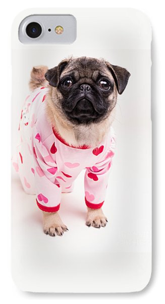 Valentine's Day - Adorable Pug Puppy In Pajamas IPhone Case by Edward Fielding