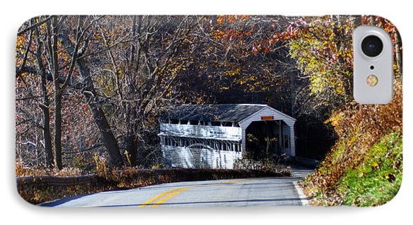 Valley Forge Covered Bridge In The Fall IPhone Case by Bill Cannon