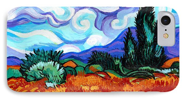 Van Goghs Wheat Field With Cypress Phone Case by Genevieve Esson