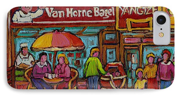 Van Horne Bagel With Yangtze Restaurant Montreal Street Scene IPhone Case by Carole Spandau