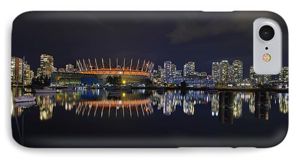 Vancouver Bc Canada City Skyline By False Creek At Night Phone Case by David Gn