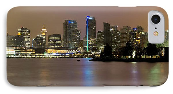 Vancouver Bc City Skyline At Night Phone Case by David Gn