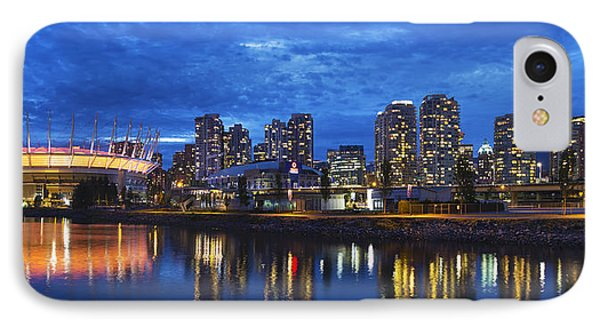 Vancouver Bc City Skyline With Bc Place At Blue Hour Phone Case by David Gn