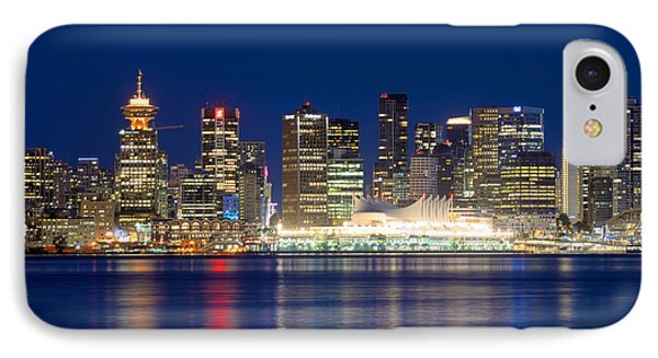 Vancouver Bc Evening Skyline IPhone Case by Terry Elniski