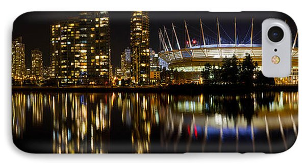 IPhone Case featuring the photograph Vancouver Bc Skyline Along False Creek At Night by JPLDesigns