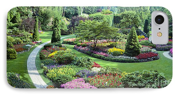 Vancouver Butchart Sunken Gardens Beautiful Flowers No People Panorama IPhone Case by David Zanzinger
