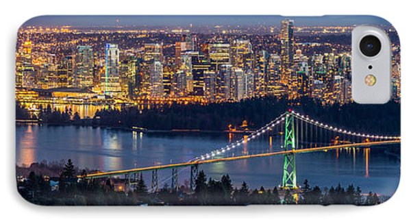 Vancouver City With Lions Gate Bridge At Twilight IPhone Case by Pierre Leclerc Photography